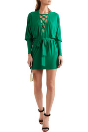 Balmain Lace-up jersey mini dress