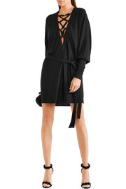 Balmain Lace-up crepe mini dress