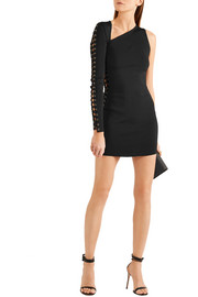 Asymmetric lace-up stretch-knit mini dress
