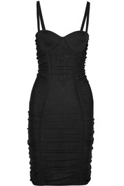 Balmain Ruched stretch-knit mini dress