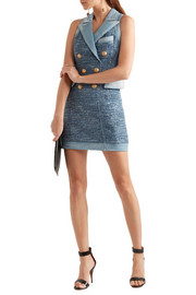 Balmain Denim-trimmed tweed mini dress