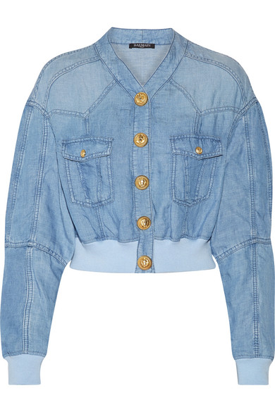 Cropped chambray bomber jacket