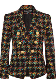 Double-breasted houndstooth tweed blazer