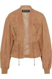 Lace-up suede jacket