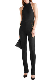 Balmain Ribbed stretch-knit halterneck jumpsuit