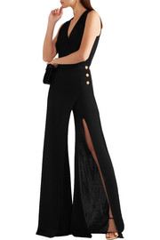 Balmain Embellished wrap-effect stretch-knit jumpsuit