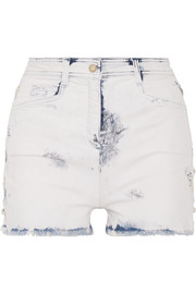Balmain Lace-up distressed denim shorts