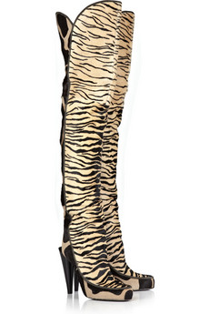 Roberto Cavalli | Thigh-high calf hair boots | NET-A-PORTER.COM