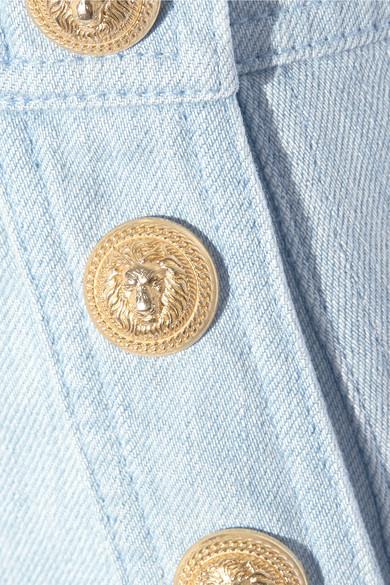 94b4acf4d6 Balmain | Button-detailed denim mini skirt | NET-A-PORTER.COM