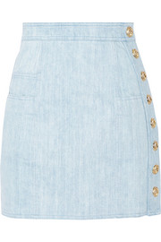 Balmain Button-detailed denim mini skirt