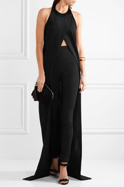 Balmain Draped stretch-knit halterneck top