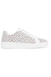 Laser-cut leather sneakers