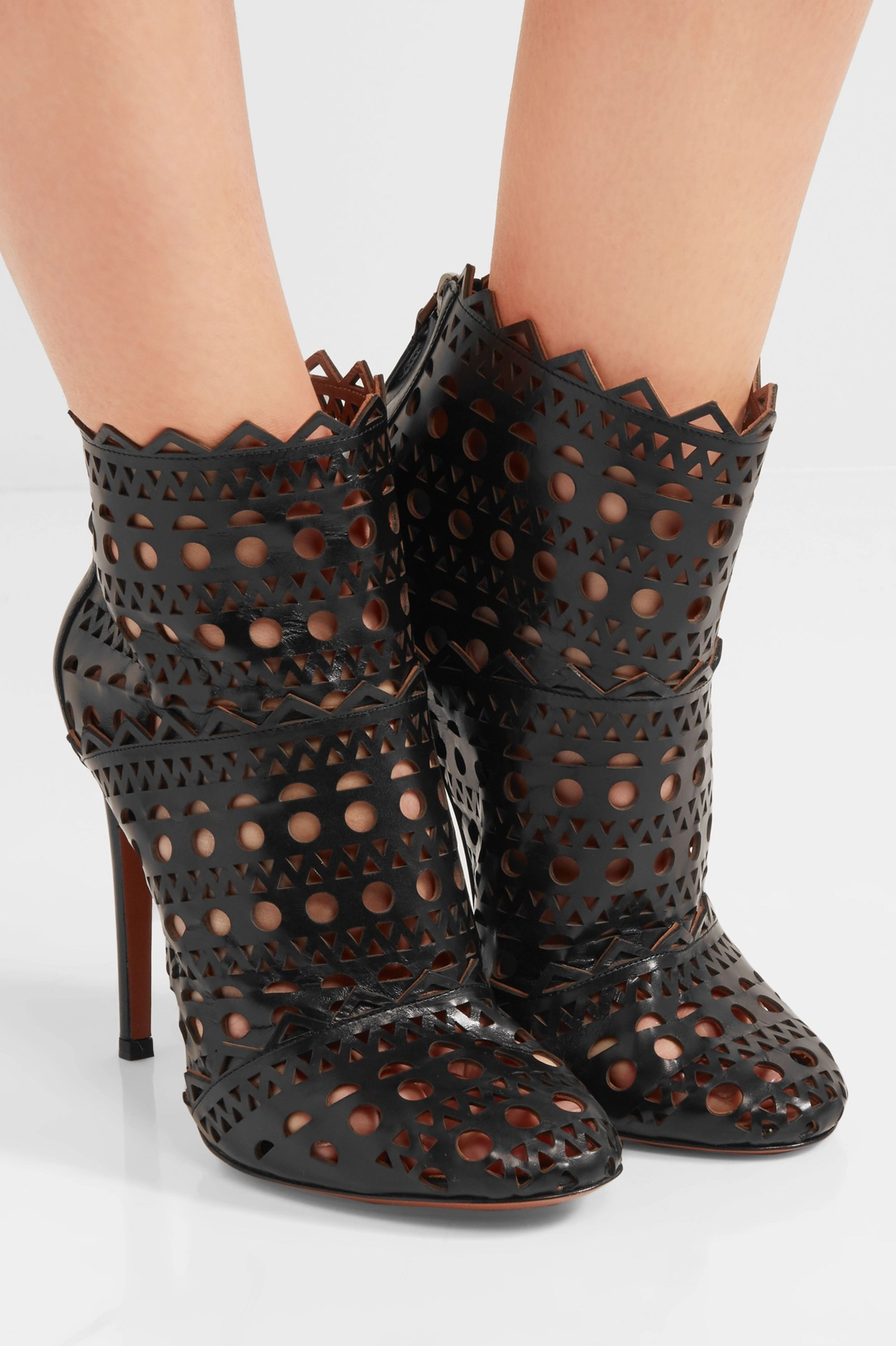 Black Laser-cut leather ankle boots