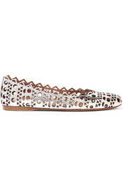 Alaïa Laser-cut metallic leather ballet flats