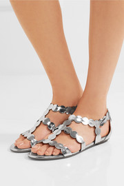 Laser-cut mirrored leather sandals