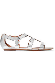 Alaïa Laser-cut mirrored leather sandals