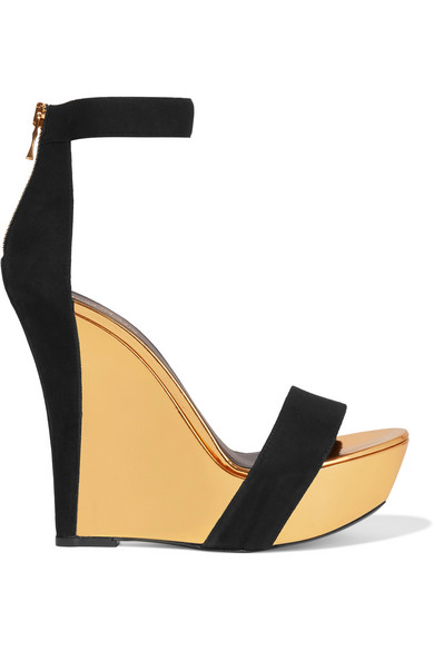 Balmain - Suede And Mirrored-leather Wedge Sandals - Black