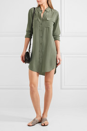 Slim Signature washed-silk mini shirt dress