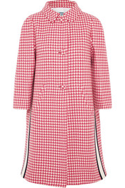 Paneled houndstooth wool coat