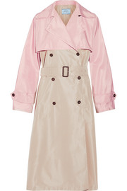 Color-block silk-faille trench coat