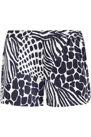 Landis animal-print washed-silk shorts
