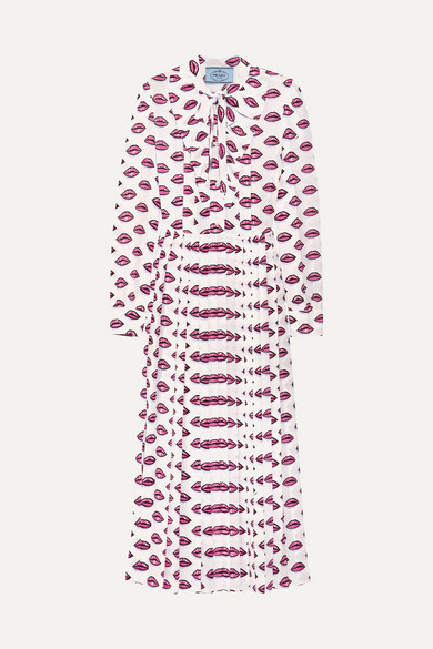 Pussy-bow pleated printed crepe midi dress