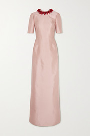 Prada Embellished wool and silk-blend gown