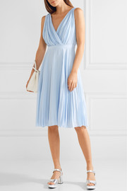 Plissé crepe de chine dress