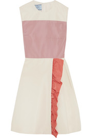 Prada Color-block ruffled silk-faille mini dress