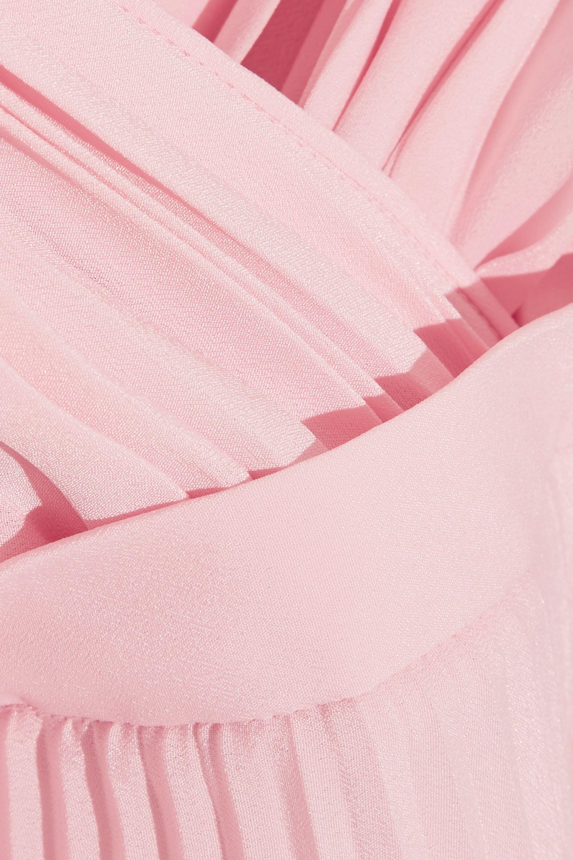 Prada Wrap-effect plissé-crepe de chine dress