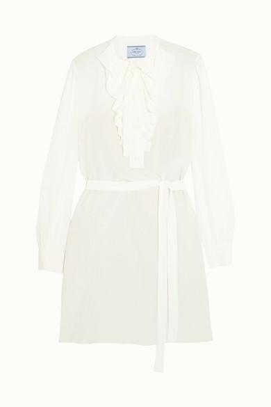 Prada - Pussy-bow Ruffled Silk Crepe De Chine Mini Dress - Ivory