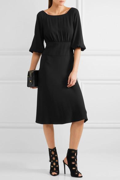 Crepe Midi Dress - Black Prada s4Rr5LAjJz