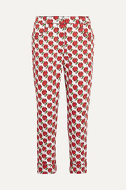 Cropped printed mid-rise slim-leg jeans
