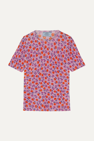 Prada - Floral-print Wool Sweater - Pink