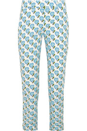 Prada Printed stretch cotton-poplin slim-leg pants