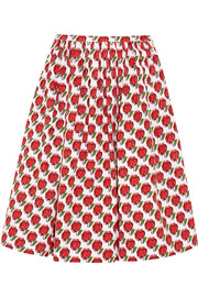 Prada Printed stretch-denim skirt