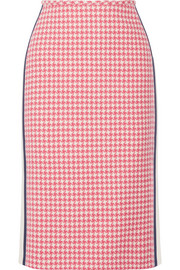 Prada Paneled houndstooth wool pencil skirt
