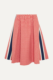 Paneled houndstooth wool skirt