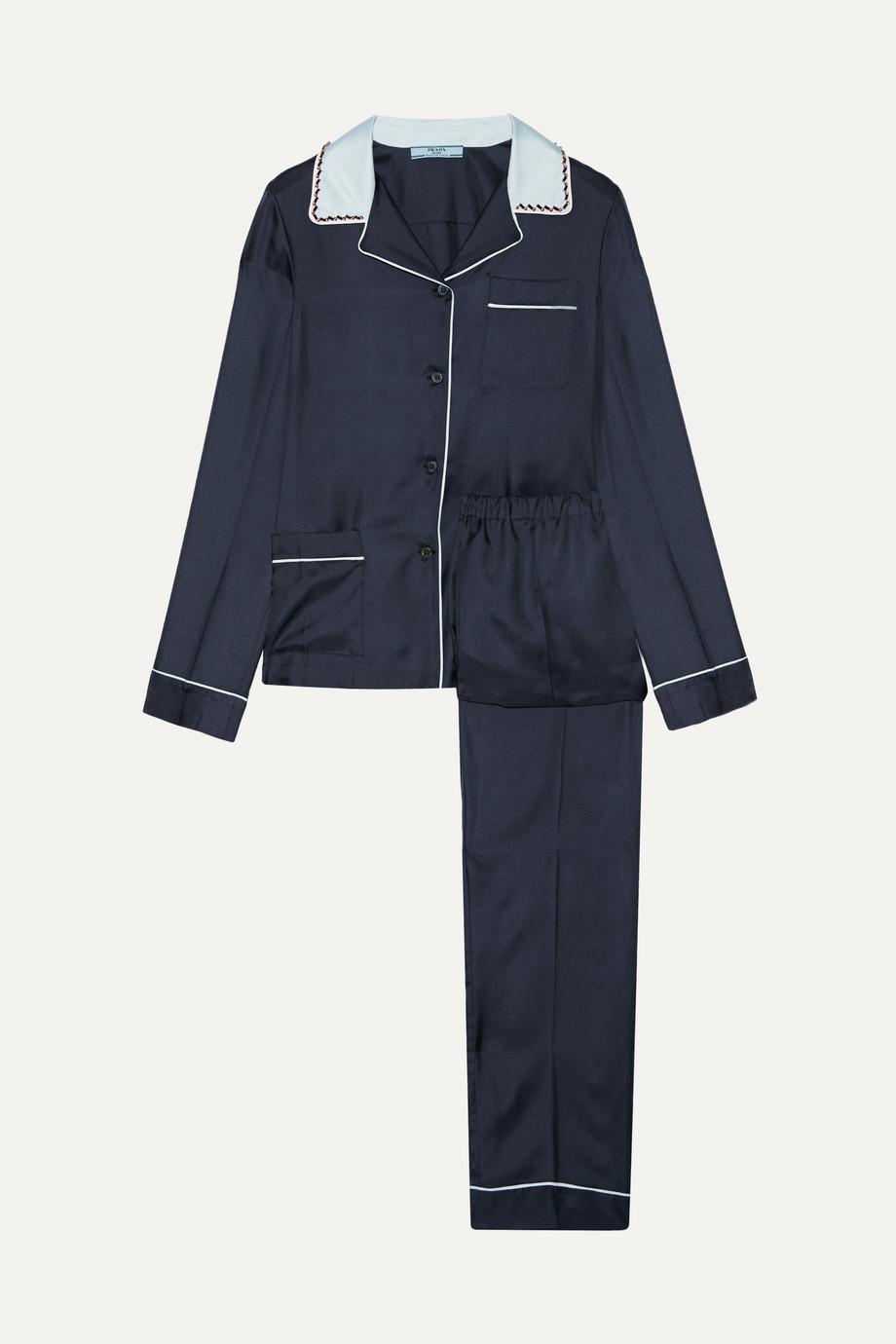 Prada Verziertes Pyjama aus Seiden-Twill