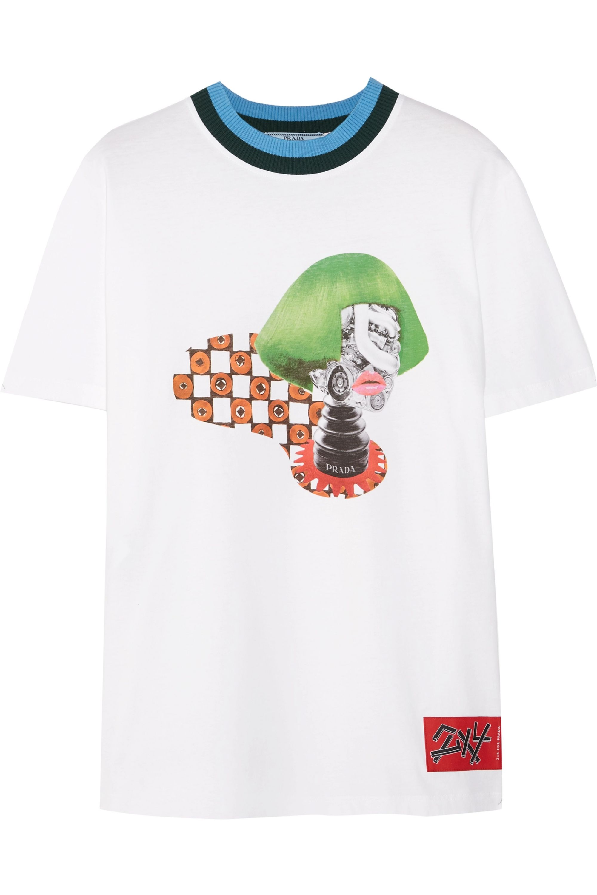 Prada Ribbed knit-trimmed printed cotton-jersey T-shirt