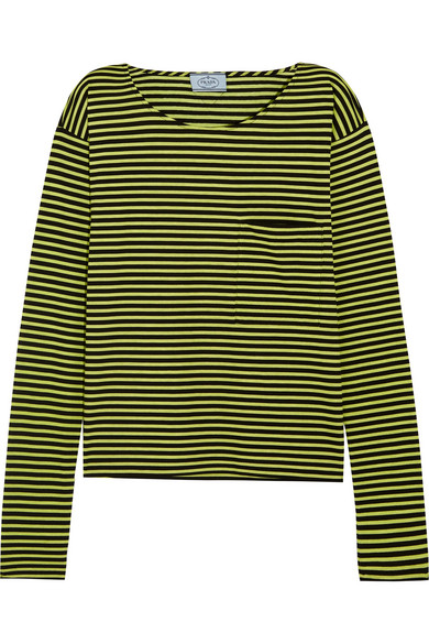 Prada - Striped Cotton-jersey Top - Lime green