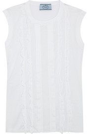 Prada Ruffled paneled cotton-poplin and jersey top