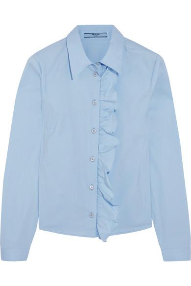 af8b37e3 Ruffled cotton-blend poplin shirt