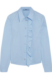 Ruffled cotton-blend poplin shirt