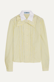 Bow-embellished ruffled striped cotton shirt