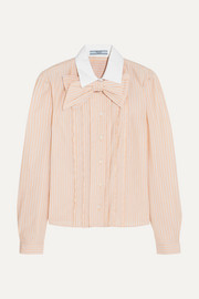Prada Bow-embellished ruffled striped cotton shirt