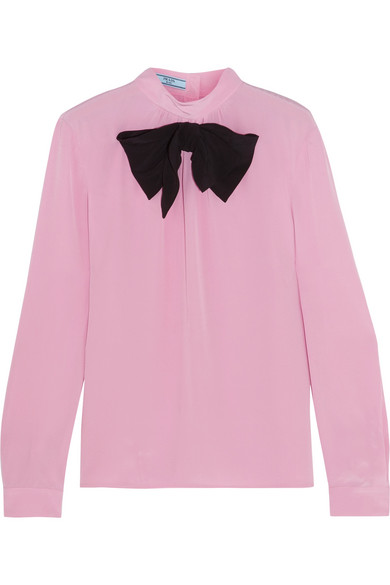 Prada - Bow-embellished Silk Crepe De Chine Blouse - Baby pink
