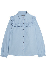 Memphis ruffled cotton-chambray shirt
