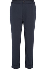 Adele pinstriped cotton-blend tapered pants