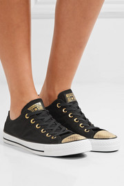 Converse Chuck Taylor All Star metallic snake-effect leather-trimmed canvas sneakers